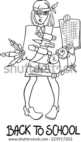 Black and White Cartoon Humorous Illustration of Teenage Girl Student Coming Back to School for Coloring Book