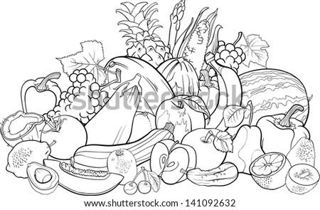 Black And White Cartoon Illustration Of Fruits Vegetables Big Group Food Design For Coloring Book
