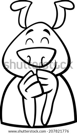 Black and White Cartoon Illustration of Funny Dog Expressing Cheerful Mood or Emotion for Coloring Book