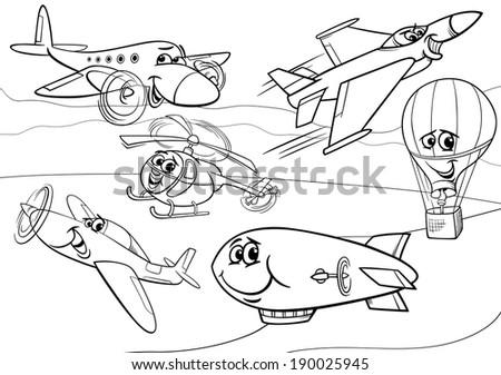 Black White Cartoon Illustration Funny Planes Stock Illustration ...