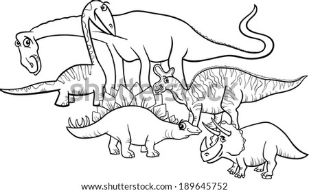 Black And White Cartoon Illustration Of Funny Prehistoric Dinosaurs Characters Group For Coloring Book