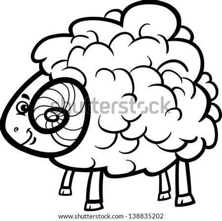 Black and White Cartoon Illustration of Funny Ram Farm Animal for Coloring Book