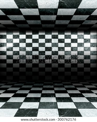 Black And White Check Grunge Room  - stock photo