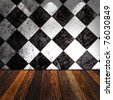 Black And White Check Grunge Room with wooden floor - stock photo