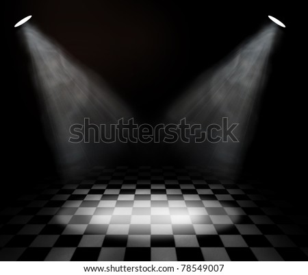 black and white check room with spotlights - stock photo