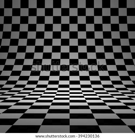 Black and white checker 3D studio background. - stock photo