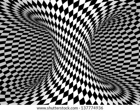 Black and White Checkers Projection on 3D Torus. - stock photo