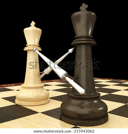 Black and white chess king with spears. isolated black background. 3d - stock photo