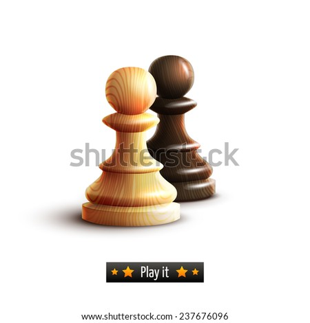 Black and white chess pawns realistic isolated on white background  illustration - stock photo