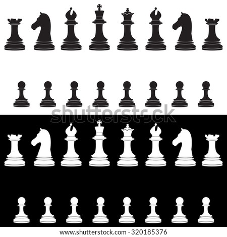 Black and white chess pieces raster icon set - with king, queen, bishop, knight, rook, pawn