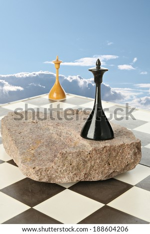 Black and white chess queen on space island - stock photo