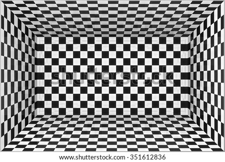Black and white chessboard walls room background - stock photo