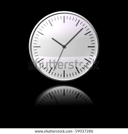 black and white chrome clock on black reflective desk - stock photo