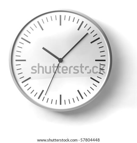 black and white chrome clock on white background - stock photo
