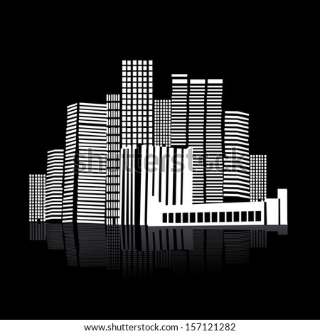 black and white city. Raster - stock photo
