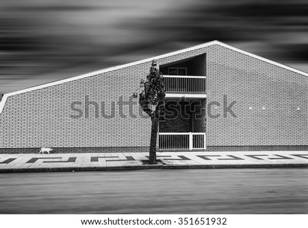Black and white cityscape. Cat walking on the sidewalk near the brick house. The sky and the road blurred in motion. Direct geometric lines. - stock photo