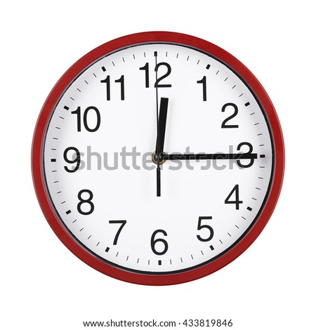 black and white clock face, midday on the clock, time close-up - stock photo