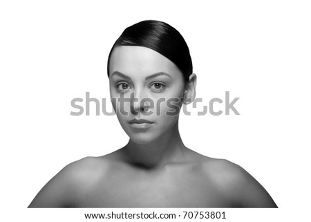 black and white close up a young beautiful brunette girl - stock photo
