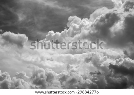 black and white clouds and sky - stock photo