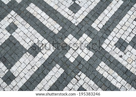 Black and white cobblestone ornamental background texture - stock photo
