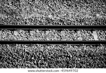 Black and white color background of railroad tracks