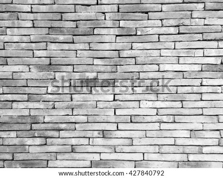 Black and white color brick wall background texture - stock photo