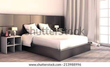 Black and white color in the bedroom - stock photo