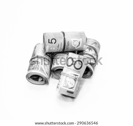 Black and white color of Australian Dollars roll with all denomination on white background - stock photo