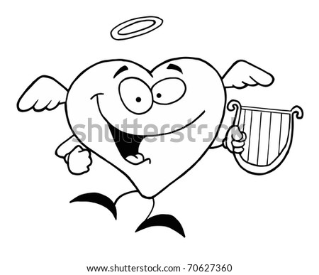 Heart With Angel Wings Coloring Pages Black And White