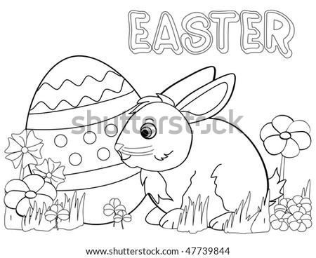 Black and white coloring template for Easter bunny & egg with flowers. - stock photo