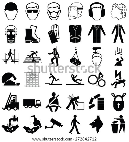 Black and white construction manufacturing and engineering health and safety related graphics set isolated on white background - stock photo