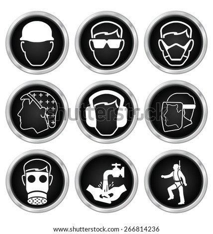 Black and white construction manufacturing and engineering health and safety related icon set isolated on white background - stock photo