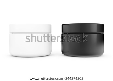 Black and White Cosmetic Containers on a white background - stock photo