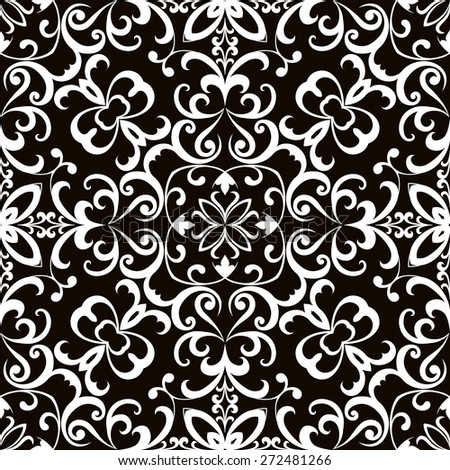 Black and white curly ornament, raster seamless pattern - stock photo