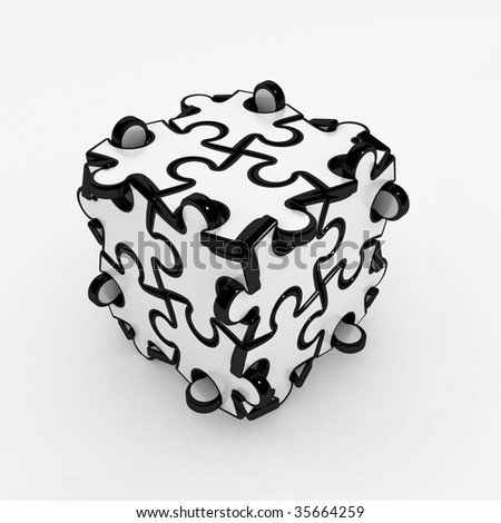 Black and white 3d jigsaw puzzle piece box, isolated - stock photo