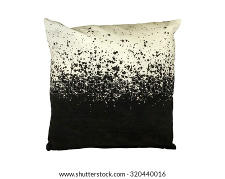 Black and white decorative throw pillow. Isolated on white background. - stock photo