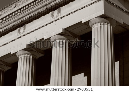 Black and white detail photo of the War Memorial building - Baltimore, Maryland - stock photo