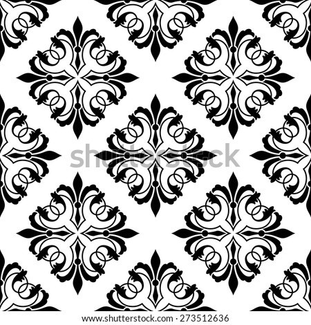 Black and white diamond shaped ornamental floral arabesque seamless pattern in square format suitable for fabric or wallpaper design - stock photo
