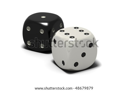 black and white dice, isolated on white background