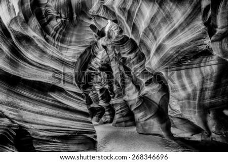 Black and white dramatic view of Navajo Antelope Canyon - stock photo