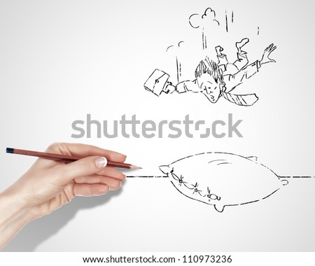 Black and white drawing about risk and dangers in business - stock photo