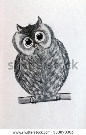 black and white drawing of an owl made a pencil on paper - stock photo