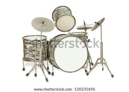 Black-and-white drum kit - stock photo