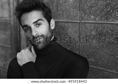 Black and white dude in sweater, portrait