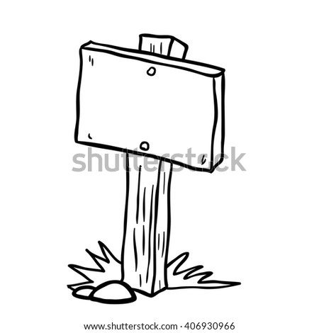 black and white empty wooden sign cartoon illustration isolated on white - stock photo
