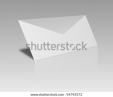 black and white envelope on gray background - stock photo