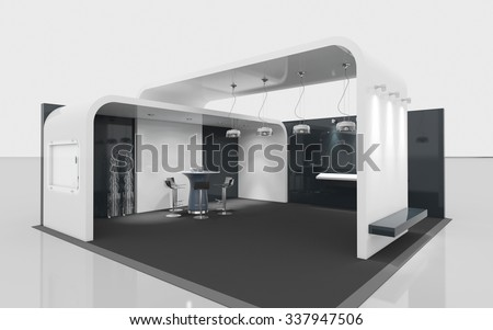 black and white exhibition booth 3d Rendering - stock photo