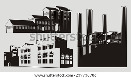 Black and white factory buildings with chimney stacks. Transparent - white-filled version also available. - stock photo
