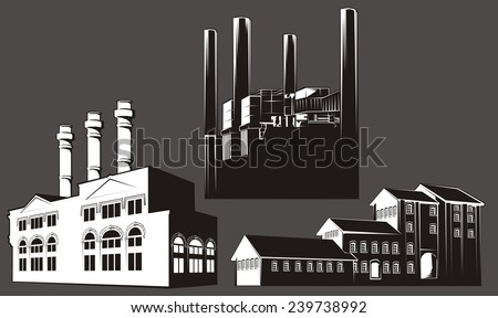 Black and white factory buildings with chimney stacks. White-filled (not transparent) - transparent version also available. - stock photo