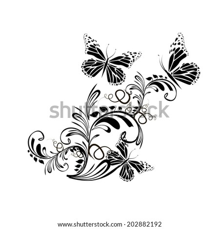 Black and white floral abstraction with butterflies. Raster - stock photo